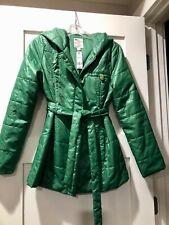 Tulle Belted Zip Hoodie Puffer Coat Size XS, Kelly Green, NWT