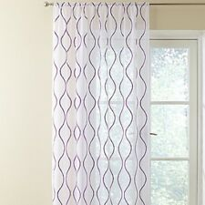 VOILE PANEL WHITE EMBRIODERED PLUM READY MADE VOILE SLOT TOP 90INS DROP