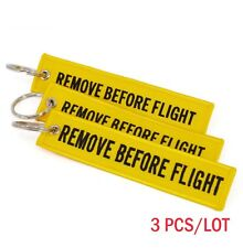 3 Embroidered REMOVE BEFORE FLIGHT Keychain Lanyard Luggage Tag Keyring Aircraft