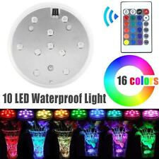 Submersible 10 LED Waterproof Light RGB for Vase Wedding Party Fish Tank Decor S