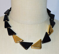 NAPIER Black Gold Tone Acrylic Triangle Geometric Necklace Vintage