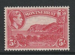Montserrat 1938-48 George VI 5/- Rose-carmine Perf 13 SG 110 Mint.