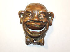 Brass Black Mans Face Bottle Opener over 4 inches Long Wall Mounted (12249)
