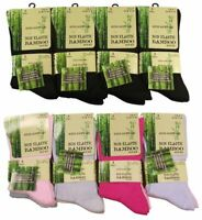 6 Pairs Of Ladies Bamboo Loose Top Socks, Super Soft Anti Bacterial Socks 4/7