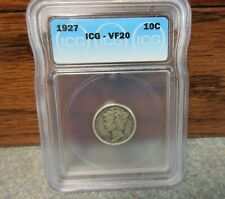 1927 Winged Liberty Head or Mercury Dime ICG : VF20 : BUY-IT-NOW