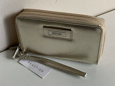 NEW! KENNETH COLE REACTION CHAMPAGNE GOLD DOUBLE ZIP WALLET WRISTLET $50 SALE