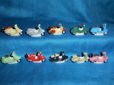 Minature Porcelain MOTOR SCOOTERS Set of 10 Mini FRENCH FEVES VESPA LAMBRETTA