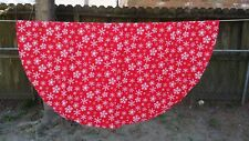 "Print Red White Snowflake Christmas Oval 66""X64"" Tablecloth Free Shipping"