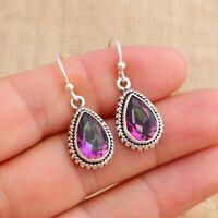 Mystic Topaz 925 Sterling Silver Teardrop Drop Earrings Indian Jewellery