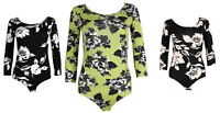 Womens Spring Floral Scoop Neck 3/4 Sleeve Leotard Ladies Bodysuit Top Size 8-14