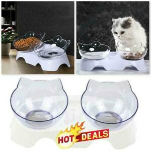 Non-slip 15°Tilted Cat Bowls w/Raised Stand Pet Food Water Bowl Cats Dog Feeder
