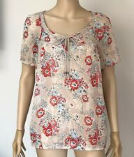 MARKS & SPENCER M&S INDIGO Beige Mix Floral Gypsy Chiffon Blouse with Camisole 8