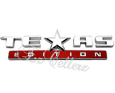 TEXAS EDITION 3D EMBLEM DECAL SILVER CHROME RED CHEVY SILVERADO GMC UNIVERSAL