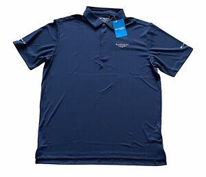 NWT Columbia Golf Men's XL Navy Blue Polo Shirt Dallas Athletic Club Logo