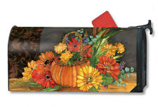 """AUTUMN TAPESTRY PUMPKIN BASKET FLOWERS MAGNETIC MAILBOX COVER 1"""" NUMBERS"""