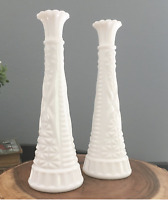 Set of 2 Vintage Anchor Hocking 1071 Pressed White Milk Glass Bud Vase 9""