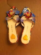 Floral Print Women's Sandals Size 6 Small Heels Open Toe & Back
