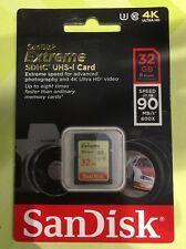 SANDISK Extreme 32GB SD SDHC Scheda di memoria Classe 10 UHS fino a 90 MB/s U3, V30-NUOVO