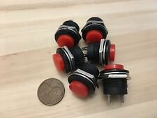 6 Pieces RED small N/O Momentary 16mm push button Switch round 12v on off C18