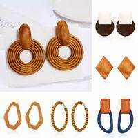 Women Handmade Wooden Earrings Geometric Circle Dangle Drop Ear Stud Jewellery