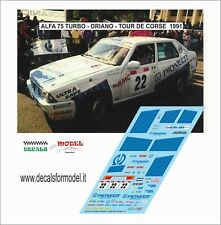 DECALS 1/43 ALFA ROMEO 75 TURBO DRIANO TOUR DE CORSE 1991