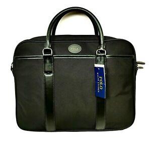 POLO Ralph Lauren Black Laptop Briefcase Messenger Bag Fabric/Leather NWT