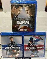 Captain America - Civil War/ First Avenger/ Winter Soldier [Blu-Ray+Digital] New