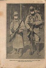 Soldats Poilus Masque à Gaz Calotte d'Acier Eclats d'Obus  WWI 1916 ILLUSTRATION