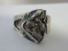 Stunning, Large & Unique Modernist Genuine Meteorite Sterling Silver Ring By TSD