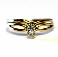 14k yellow gold .10ct SI2 H marquise solitaire engagement wedding band ring 2.7g