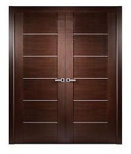 """72"""" x 80"""" MAXIMUM WENGE BROWN MODERN INTERIOR DOUBLE DOOR WITH JAMBS & CASINGS"""