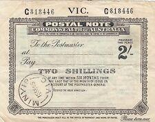 Postal Note 2/- Victoria used 1955 Minyip postmark