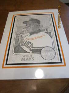 Willie Mays Signed Original Art of 1968 Topps card 13x17