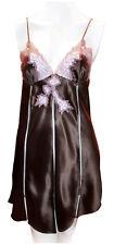 Luna di Seta Kurzes Luxus Nachthemd Seide Satin Braun Spitze Rosa M