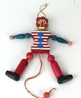 Vintage Wood Figure Pull String Clown Puppet Christmas Ornament Toy Austria