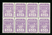 US Stamps VF OG NH 1953 Intangibles Tax Block of 8