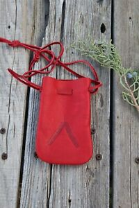 Leather drawstring pouch , Leather medicine bag , Crystal pouch