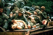 Vietnam War U.S. Army Wounded Carried Aboard Top Of Tank 8.5x11 Rare Photo