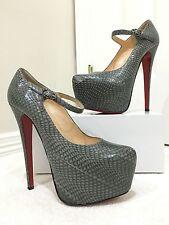 Christian Louboutin Lady Daf 160 - Gray - Snakeskin - Size 38