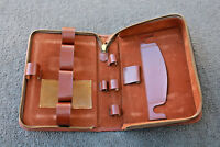 Travel Toiletry Bag Vintage Tan Leather Shaving Zipper Dopp Kit Cosmetic case