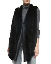 New Authentic VINCE Black Rabbit Fur Knit Wool Sweater Back Draped Vest M $795