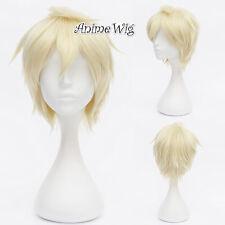 For APH England Arthur Kirkland Light Blonde 30CM Short Hair Anime Cosplay Wig