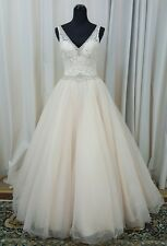 NEW Mori Lee Bridal 2684 Ball Gown V Neck Lace Wedding Dress Gown Caramel Sz 10