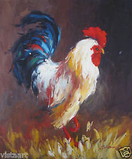 "Hand Painted Oil On Stretched Canvas Cloth 20""x24"" ~A Rooster~"