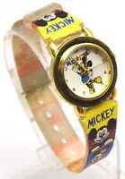 """Wrist Watch 8"""" 15mm MICKEY MOUSE w/ Mickey & Minnie Cartoon Band Analog WORKS"""