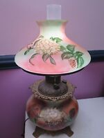 Antique Victorian GWTW Table LAMP Hand Painted Floral Design gone with the wind