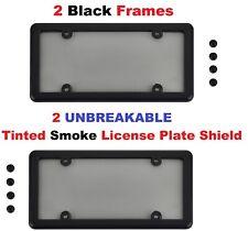 2 Black Frames + 2 UNBREAKABLE Tinted Smoke License Plate Shield  + 8 Screw Caps