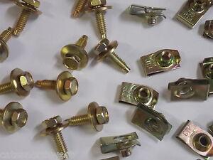 "Ford Mercury 12 Under Hood Bolts w/ 12 Short Nuts 1/4-20 x 7/8"" Yellow Zinc"