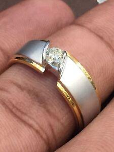 0.25 Cts Round Brilliant Cut Diamond Men's Engagement Ring In Solid 14Karat Gold