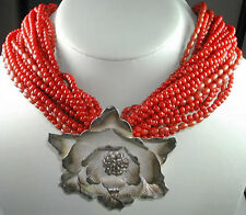 Statement 22 Strand Coral Necklace with Huge Thai Silver Flower Handcrafted